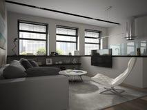Binnenland van het moderne ontwerpruimte 3D teruggeven Stock Foto's