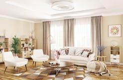Binnenland van het moderne woonkamer 3d teruggeven royalty-vrije illustratie