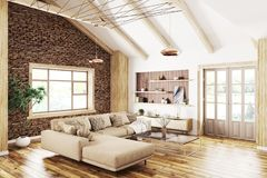 Binnenland van het moderne woonkamer 3d teruggeven stock illustratie
