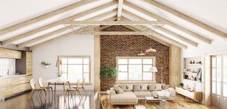 Binnenland van het moderne woonkamer en keuken 3d teruggeven royalty-vrije illustratie