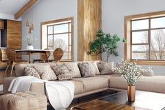 Binnenland van het moderne woonkamer en keuken 3d teruggeven royalty-vrije stock afbeelding