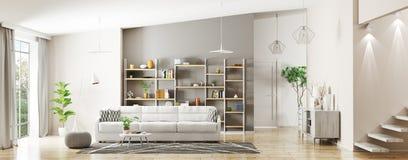 Binnenland van het moderne woonkamerpanorama 3d teruggeven stock illustratie