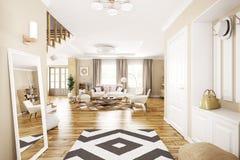 Binnenland van het moderne zaal binnenshuis 3d teruggeven royalty-vrije illustratie