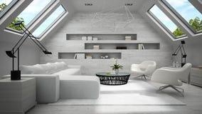 Binnenland van het modieuze lichte mansard ruimte 3D teruggeven Stock Afbeelding