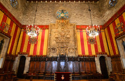 Binnenland van het Stadhuis van Barcelona s, Barcelona, Spanje Stock Foto