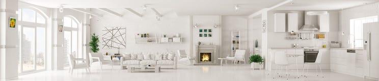 Binnenland van het witte woonkamerpanorama 3d teruggeven vector illustratie
