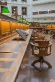 Binnenland van Historische Bibliotheek Stock Foto