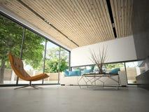 Binnenland van hous met zwembad het 3D teruggeven Stock Fotografie