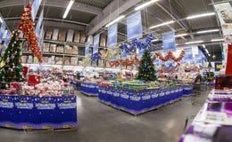 Binnenland van hypermarket METRO Stock Afbeelding