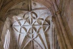 Binnenland van Kathedraal van de incarnatie, detail van kluis door gerichte bogen wordt gevormd die royalty-vrije stock afbeeldingen