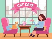 Binnenland van kattenkoffie met groot venster, vrouw en Pot in comfortabele arnchairs, koffie op lijst Meisje en kattentheekransj vector illustratie