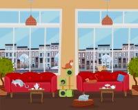 Binnenland van kattenkoffie met grote vensters, comfortabele rode banken, lijsten met thee en koffie Vele katten op meubilair en  royalty-vrije illustratie