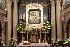 Binnenland van kerk in Kalwaria Zebrzydowska. Royalty-vrije Stock Afbeelding