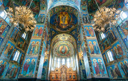 Binnenland van Kerk van de Verlosser op Gemorst Bloed, St. Petersburg Royalty-vrije Stock Afbeelding