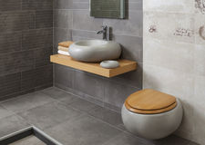 Binnenland van moderne badkamers Stock Fotografie