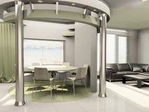 Binnenland van moderne keuken met bouw Stock Illustratie