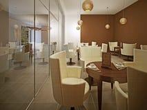 Binnenland van moderne koffie in bruin Royalty-vrije Stock Afbeelding