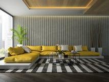 Binnenland van moderne ontwerpruimte met het gele bank 3D teruggeven Stock Foto's