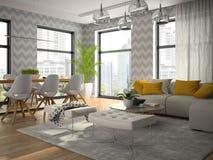 Binnenland van moderne ontwerpruimte met het grijze behang 3D teruggeven Royalty-vrije Stock Foto's