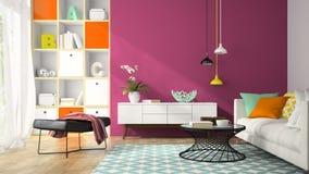 Binnenland van moderne ontwerpruimte met het purpere muur 3D teruggeven Royalty-vrije Stock Afbeeldingen