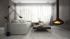 Binnenland van moderne ontwerpruimte met open haard het 3D teruggeven Stock Foto