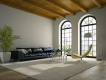 Binnenland van moderne ontwerpzolder met het zwarte bank 3D teruggeven Stock Afbeelding