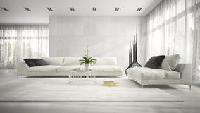 Binnenland van moderne ruimte met het witte laag 3D teruggeven Royalty-vrije Stock Fotografie