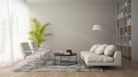 Binnenland van moderne ruimte met witte leunstoel en bank 3D renderi Stock Fotografie