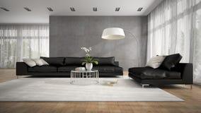Binnenland van moderne ruimte met zwarte laag het 3D teruggeven Stock Foto
