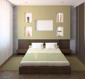 Binnenland van moderne slaapkamer. Stock Afbeeldingen