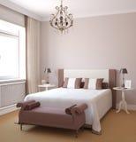 Binnenland van moderne slaapkamer Stock Foto