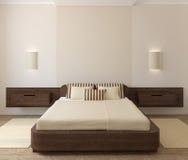 Binnenland van moderne slaapkamer Stock Afbeeldingen
