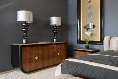 Modern binnenland. Slaapkamer. Stock Foto