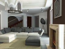 Binnenland van moderne woonkamer Stock Fotografie