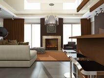 Binnenland van moderne woonkamer Stock Afbeelding