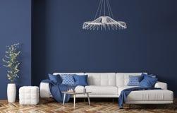 Binnenland van moderne woonkamer met witte stoffenbank over het blauwe muur 3d teruggeven royalty-vrije stock foto's