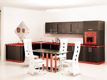 Binnenland van moderne zwarte keuken Stock Fotografie