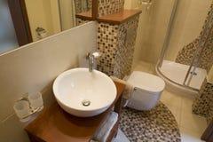 Binnenland van modieuze moderne badkamers Stock Afbeelding