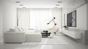 Binnenland van modieuze moderne ruimte met het witte bank 3D teruggeven Stock Foto's