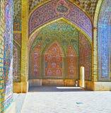 Binnenland van Nasir Ol-Molk-moskee, Shiraz, Iran stock foto