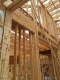 Binnenland van nieuw huis in aanbouw Stock Foto's