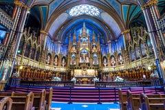 Binnenland van Notre-Dame Basilic in Montreal Stock Foto's