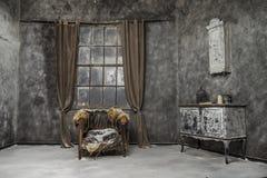 Binnenland van oud verlaten huis Royalty-vrije Stock Foto