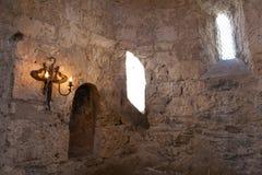 Binnenland van Oude Albanese kerk Kish Azerbaijan Royalty-vrije Stock Afbeelding