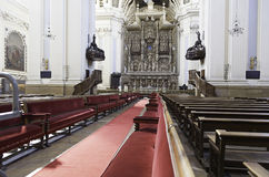 Binnenland van oude kerk in Spanje Royalty-vrije Stock Afbeelding