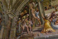 Binnenland van Raphael-ruimten, het museum van Vatikaan, Vatikaan Stock Foto's