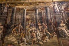 Binnenland van Raphael-ruimten, het museum van Vatikaan, Vatikaan Stock Foto