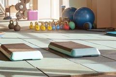 Binnenland van rehabilitatiegymnastiek, met equiment: ballen, matten, stappen stock foto's
