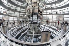Binnenland van Reichstag-koepel in Berlijn, Duitsland Royalty-vrije Stock Afbeelding
