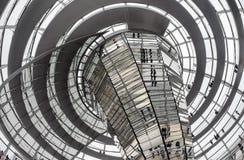 Binnenland van Reichstag-koepel in Berlijn, Duitsland Stock Foto